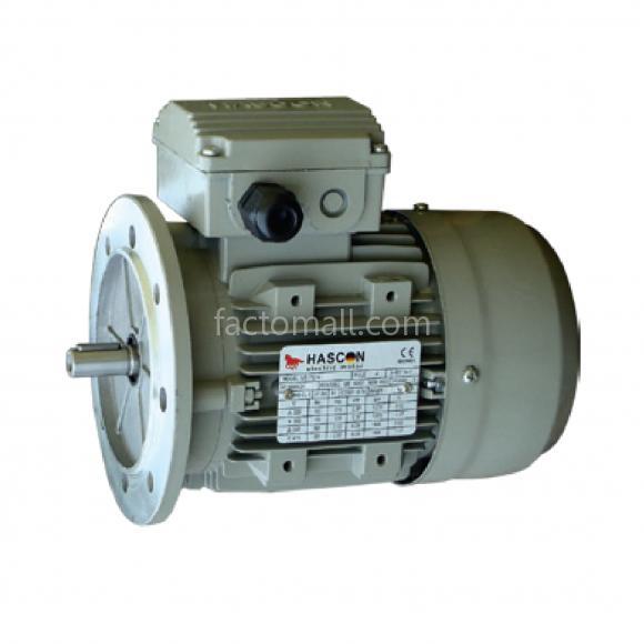มอเตอร์ Hascon 0.55kW3/4HP4Pole 1400rpmแบบหน้าแปลน (B5) อะลูมิเนียมเฟรม 3phase 220/380V